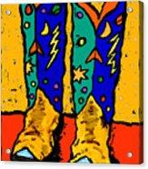Boots On Yellow Acrylic Print