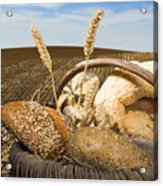 Bread And Wheat Cereal Crops. Acrylic Print