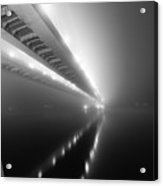Cable-stayed Bridge Over River In Fog Acrylic Print