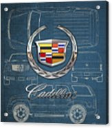 Cadillac 3 D Badge Over Cadillac Escalade Blueprint  Acrylic Print