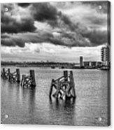 Cardiff Bay Panorama Mono Acrylic Print