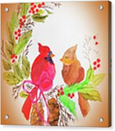 Cardinals Painted By Linda Sue Acrylic Print