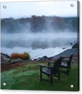 2 Chairs By Ocean With Sea Smoke Acrylic Print
