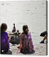 Children At The Pond 5 Acrylic Print