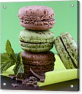 Chocolate And Mint Flavor Macaroons On Dark Wood Table Acrylic Print