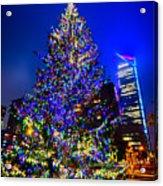Christmas Tree Near Panther Stadium In Charlotte North Carolina Acrylic Print