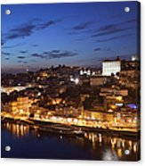 City Of Porto In Portugal By Night Acrylic Print