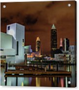 Cleveland Skyline At Night Acrylic Print