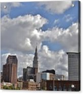 Cleveland Skyline From The Flats River District Acrylic Print