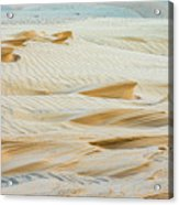 Close-up Of Beautiful Sunlit Ripple Surface Of Sand In Desert  Acrylic Print
