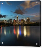 Clouds Roll Over The Austin Skyline As The Neon Reflects In The Glass-like Waters Of Lady Bird Lake Acrylic Print