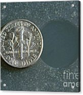 Coin Containing Silver Inhibits Acrylic Print