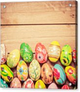 Colorful Hand Painted Easter Eggs On Wood Acrylic Print