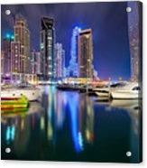 Colorful Night Dubai Marina Skyline, Dubai, United Arab Emirates Acrylic Print