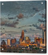 Cotton Candy Sky Over Charlotte North Carolina Downtown Skyline Acrylic Print
