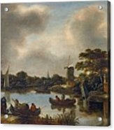 Dutch Landscape With Fishers Acrylic Print