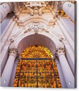 Entrance Of The Syracuse Baroque Cathedral In Sicily - Italy Acrylic Print