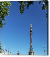Famous Columbus Monument Landmark In Central Barcelona Spain Acrylic Print
