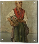 Fish Seller With The Vesuvio In The Background Acrylic Print