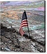 Flag In A Crack In The Pavement Acrylic Print