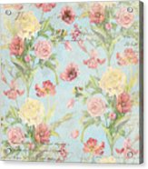 Fleurs De Pivoine - Watercolor In A French Vintage Wallpaper Style Acrylic Print