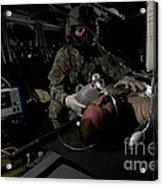 Flight Medic Looks After A Mock Patient Acrylic Print