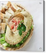 Fresh Crab Seafood Cream Mousse With Toast Tapas Snack Acrylic Print