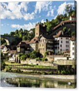 Fribourg Old Town In Switzerland Acrylic Print
