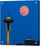 Full Moon With Space Needle Acrylic Print