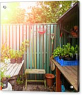 Garden Potting Table Acrylic Print