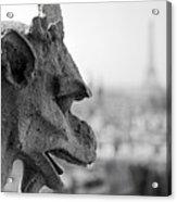 Gargoyle Guarding The Notre Dame Basilica In Paris Acrylic Print
