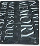 Gravestone In Loving Memory Acrylic Print
