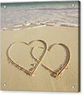 2 Hearts Drawn On The Beach Acrylic Print by Gen Nishino
