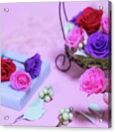 How To Make Preservrd Flower And Clay Flower Arrangement, Colorf Acrylic Print