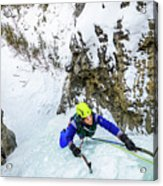 Ice Climbers On A Route Called Professor Falls Rated Wi4 In Banf Acrylic Print