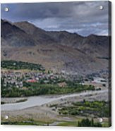 Indus River And Kargil City Leh Ladakh Jammu Kashmir India Acrylic Print