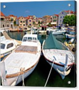 Island Of Prvic Harbor And Waterfront View In Sepurine Village Acrylic Print