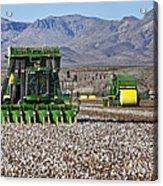 John Deere Cotton Pickers Harvesting Acrylic Print