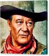 John Wayne, Hollywood Legend By John Springfield Acrylic Print