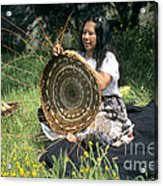 Kashia Pomo Woman Weaving Acrylic Print