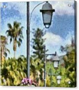 Lampost With Flowers In Nafplio Town Acrylic Print