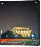 Lincoln Memorial Monument With Car Trails At Night Acrylic Print