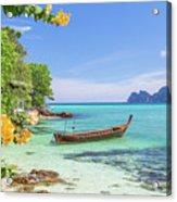 Long-tail Boats, The Andaman Sea And Hills In Ko Phi Phi Don, Th Acrylic Print