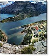 Looking Down On Waterton Lakes Acrylic Print
