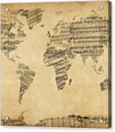 Map Of The World Map From Old Sheet Music Acrylic Print