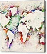 Map Of The World Paint Splashes Acrylic Print