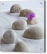 Meditation Stones Pink Flowers On White Sand Acrylic Print