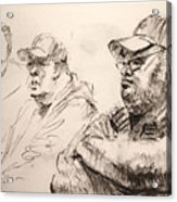 Men At Cafe Acrylic Print