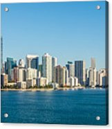 Miami Florida City Skyline Morning With Blue Sky Acrylic Print