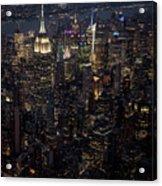 Midtown West Manhattan Skyline Aerial At Night Acrylic Print